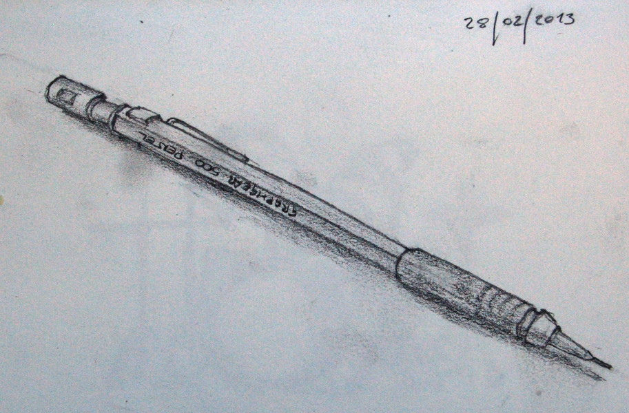 Pencil sketch of a pencil sketched during a break from annoyingly impossible maths problems at college the pencil was a souvenir of our last visit to